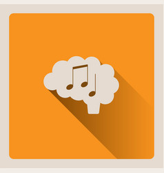 brain thinking in music on yellow background with vector image