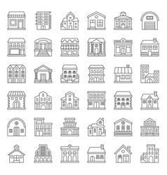 building construction icon set outline style vector image