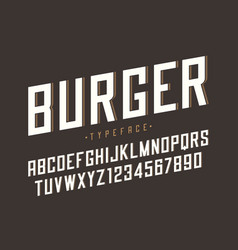 Burger retro regular font design alphabet vector