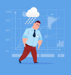 Business man wet under rain big problem failure vector