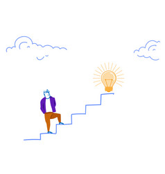 businessman climbing career ladder light lamp vector image