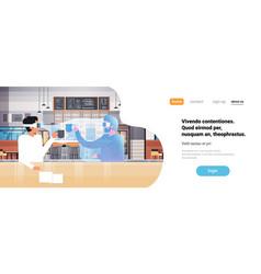 businessman wear digital glasses drinking coffee vector image