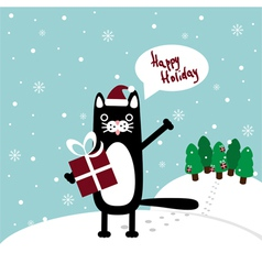 Cat with present greetings vector