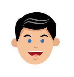 Character man blue eyes face smiling vector