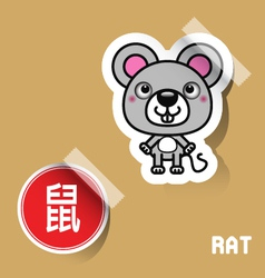 Chinese Zodiac Sign Mouse sticker vector image