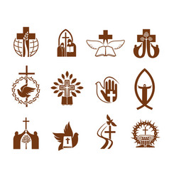 christian religion jesus cross bible dove icons vector image