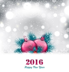 Christmas winter background with glass balls vector image