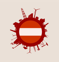 Circle with industry relative silhouettes austria vector
