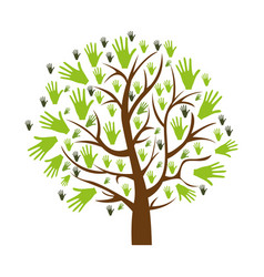 Color background of tree with leaves in shape of vector