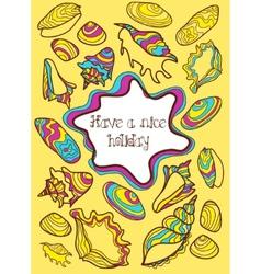 Colorful hand drawn postcard with seashells vector