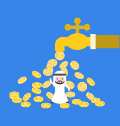 cute arab saudi businessman under gold coins vector image