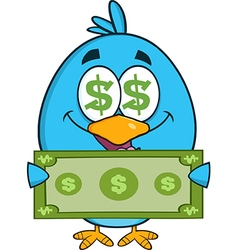 Cute Blue Bird with Money Cartoon vector image