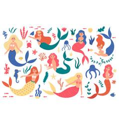 cute mermaids princess mermaid characters hand vector image