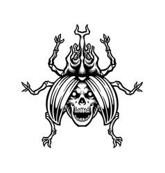 death beetle skull silhouette vector image