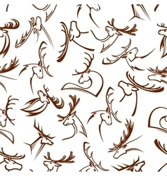 Deer heads seamless pattern background vector image
