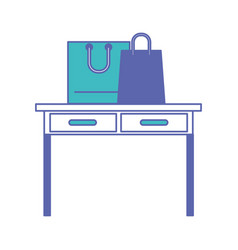 Desk table with drawers front view with shopping vector