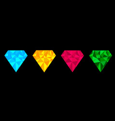 diamond set line blue yellow pink and green color vector image