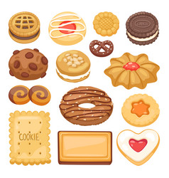 Different cookie cake isolated vector