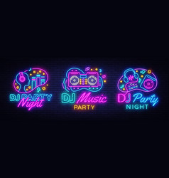 dj music party neon sign collection design vector image