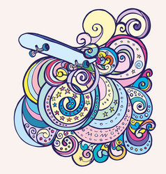 doodle skateboard and wave patterns vector image