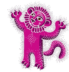 drawing of happy purple lion holding its paws up vector image