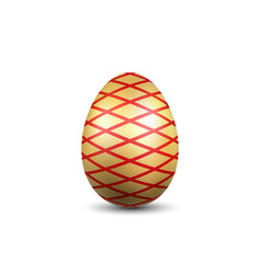 Easter egg 3d icon red gold egg isolated white vector