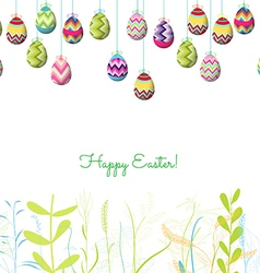 Easter eggs hanging on the wire and florals vector