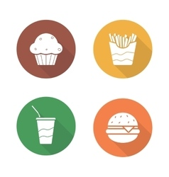 Fast food flat design icons set vector