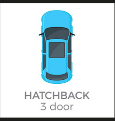 five doors hatchback top view flat icon vector image