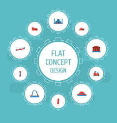 Flat icons courthouse drought india mosque and vector