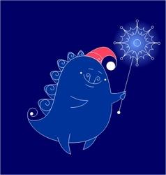 funny dragon with snowflake vector image