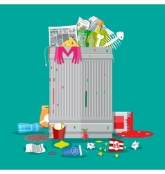 Garbage bin full of trash Overflowing container vector image