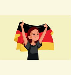 German woman holding national flag cartoon vector
