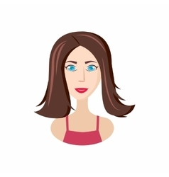 Girl long haircut icon cartoon style vector image