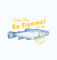 Go fishing golden trout abstract sign vector