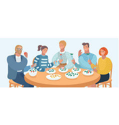 group of people are eating vector image