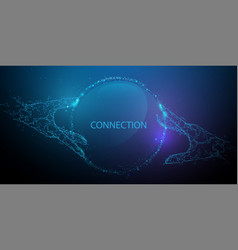 Hands touching global connection concept vector