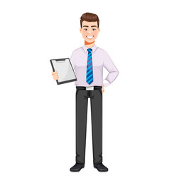Handsome business man holding clipboard vector