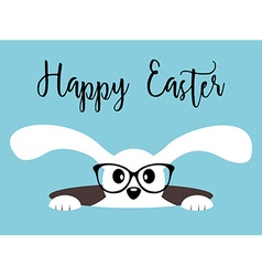 Happy Easter bunny with glasses on blue background vector