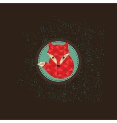 Hipster fox emblem vector