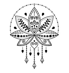 Indian lotus flower pattern mehndi henna t vector