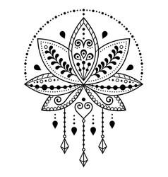 indian lotus flower pattern mehndi henna t vector image