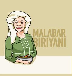 kerala malabar muslim women with biryani with text vector image