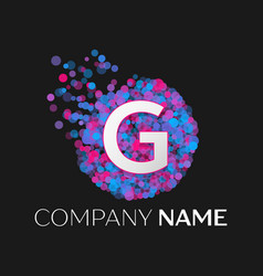 letter g logo with blue purple pink particles vector image