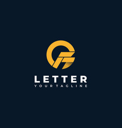 Logo abstract letter f with circle flat color vector