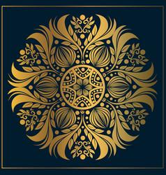 Luxury floral mandala art ornamental vintage gold vector
