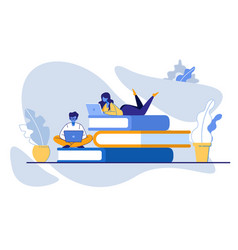 Man and girl sitting on pile books with laptops vector