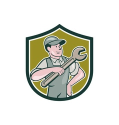 Mechanic Pointing Spanner Wrench Shield Cartoon vector image