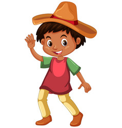 Mexican boy wearing hat vector