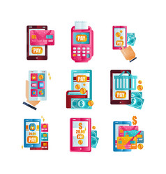 modern smartphones with online payments via vector image